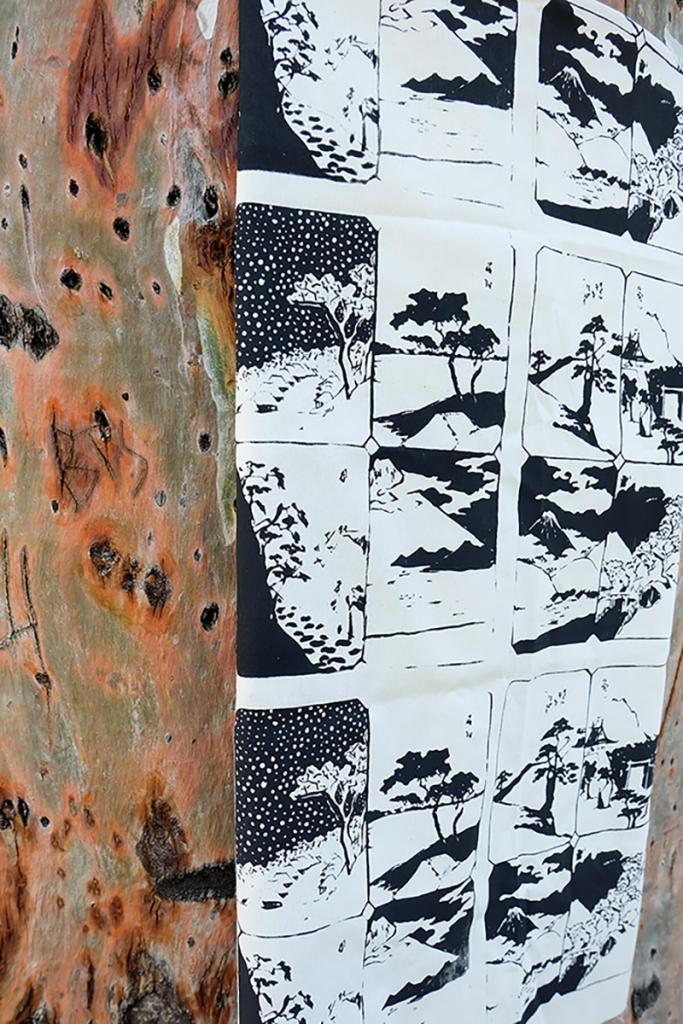 the printed rabbit estampado tela negro
